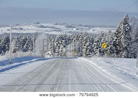 Country road in the wintertime