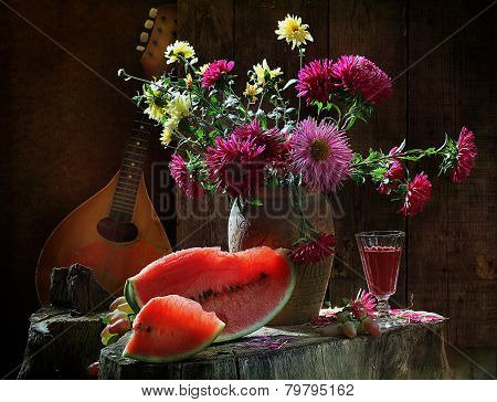 Wine, Water-melon, Bouquet From Asters And Mandolina
