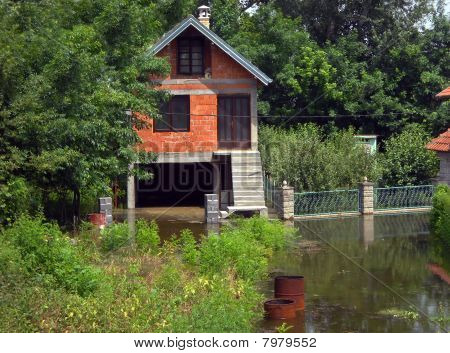 Flood, House Surrounded By Water