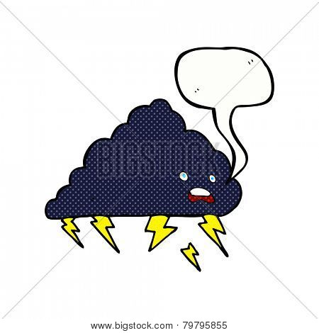 cartoon thundercloud with speech bubble