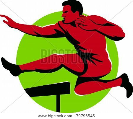 Track And Field Athlete Jumping Hurdles Retro