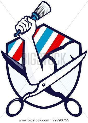 Barber Hand Holding Brush Scissors Shield Retro