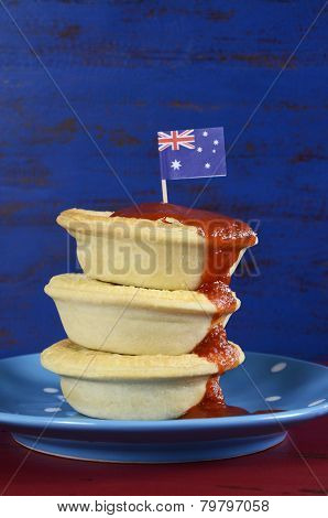 Happy Australia Day January 26 Party Food With Iconic Meat Pies And Tomato Sauce On Dark Red And Blu