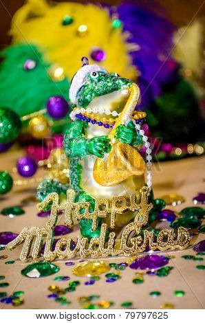 Gator ornament celebrating Mardi Gras
