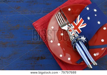 Happy Australia Day, January 26, Theme Table Setting With Red Polka Dot Plate And Australian Flag De