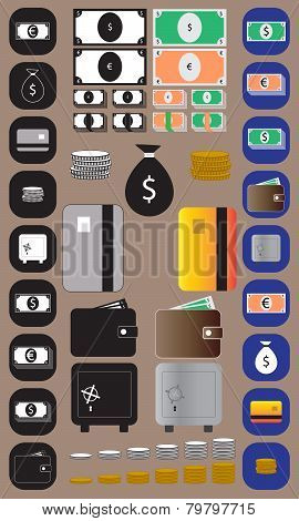 money icons and illustrations set