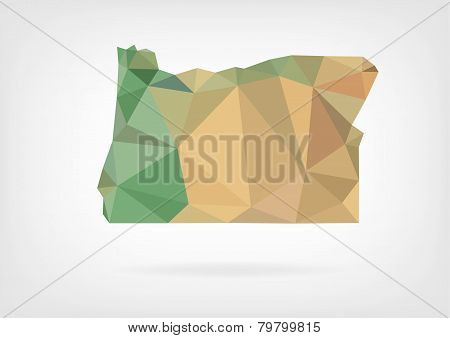 Low Poly map of Oregon state