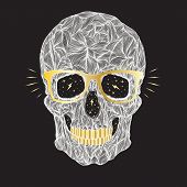 pic of gold tooth  - vector funny candy white skull with golden glasses and golden teeth on black background - JPG