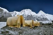 foto of shan  - Basecamp on Engilchek glacier in scenic Tian Shan mountain range in Kyrgyzstan