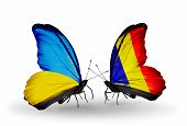 picture of chad  - Two butterflies with flags on wings as symbol of relations Ukraine and Chad Romania - JPG