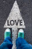 image of lost love  - Green shoes standing on your love sign - JPG