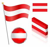image of flag pole  - Austrian flag on a pole badge and isometric designs vector illustration - JPG