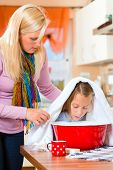 image of vapor  - Mother care for sick child with vapor bath at domestic kitchen  - JPG