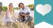 picture of serenade  - Handsome man serenading his girlfriend with guitar against heart label - JPG