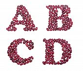 foto of letter b  - Letter set made of red kidney beans  - JPG