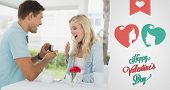 foto of marriage proposal  - Man proposing marriage to his shocked blonde girlfriend against cute valentines message - JPG