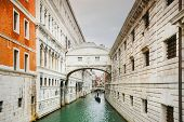 picture of passed out  - A view of a gondola passing under The Bridge of Sighs  - JPG