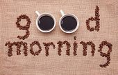 picture of bangla  - good morning with coffe cup and cake - JPG