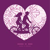 image of tandem bicycle  - Vector pink flowers lineart couple on tandem bicycle heart silhouette frame pattern greeting card template graphic design - JPG