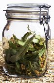 foto of hyssop  - Linden blossom flowers in jar fragrant linden macro on the table - JPG