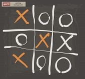 picture of tic  - Vector drawing of tic tac toe on a dark background - JPG