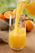 image of orange-juice  - Pouring orange juice from glass carafe - JPG