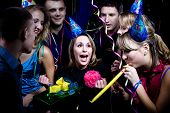 stock photo of birthday party  - birthday party with many young people - JPG