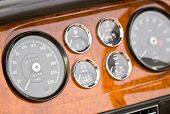 pic of car ride  - Close up of Dashboard detail of vintage car - JPG