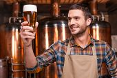 image of apron  - Happy young male brewer in apron holding glass with beer and looking at it with smile while standing in front of metal containers - JPG