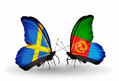 foto of eritrea  - Two butterflies with flags on wings as symbol of relations Sweden and Eritrea - JPG