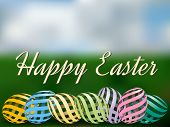 stock photo of pastel  - Easter background with pastel colored easter eggs - JPG