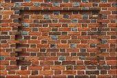foto of niche  - niche broken in the wall made from the red brick - JPG