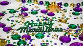 stock photo of tuesday  - Mardi gras table decorations celebrating Fat Tuesday