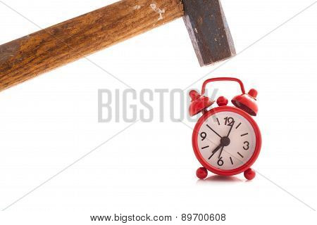 Red Clock With A Hammer