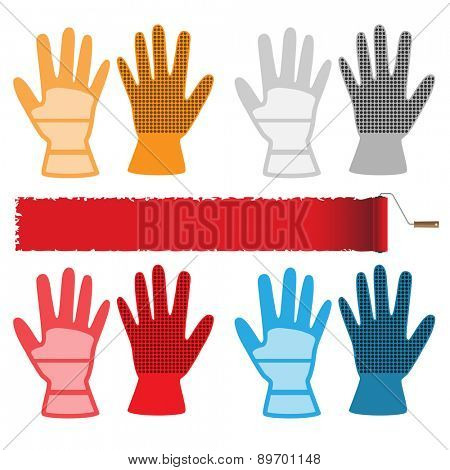 Construction gloves isolated on white background. Set of icons. illustration.