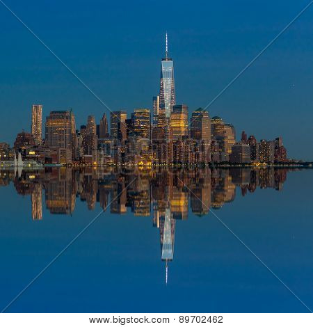 Manhattan Skyline From Jersey At Twilight