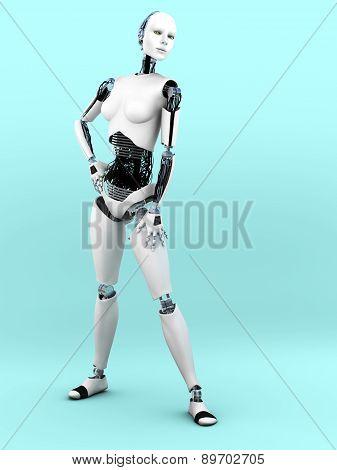 Robot Woman Posing.