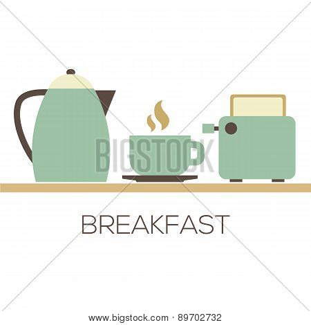 Hot Coffee With Kettle And Toaster For Breakfast.