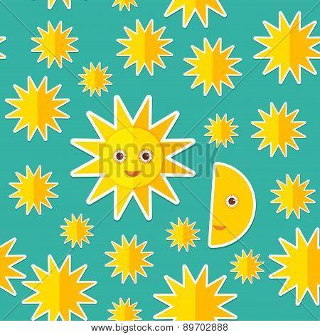 Sun Moon Stars On Blue Night Sky Seamless Pattern. Modern Style Flat. Vector