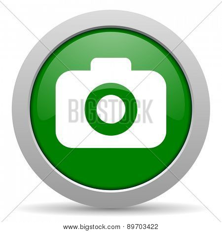 photo camera green glossy web icon
