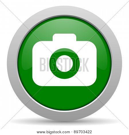 photo camera green glossy web icon