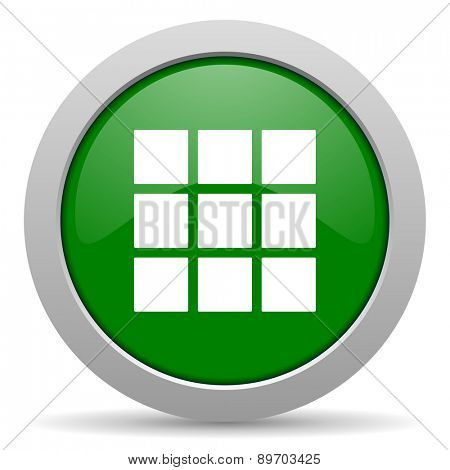 thumbnails grid green glossy web icon