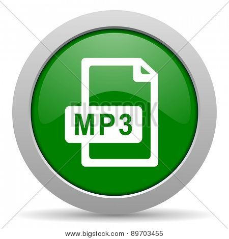 mp3 file green glossy web icon