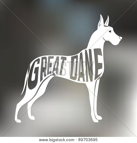 Creative design of great dane breed dog silhouette on colorful blurred background.