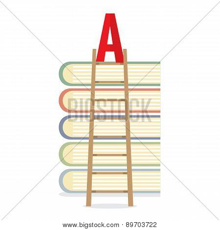 Ladder Lean On Books Toward A-level Education Concept.