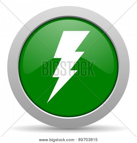 bolt green glossy web icon