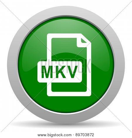 mkv file green glossy web icon