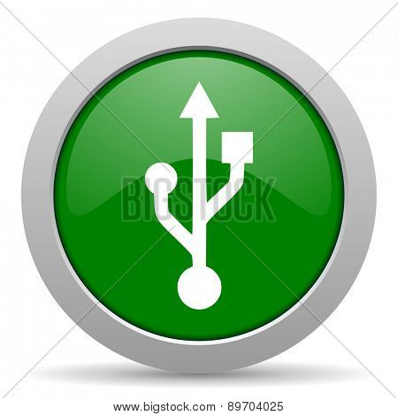 usb green glossy web icon