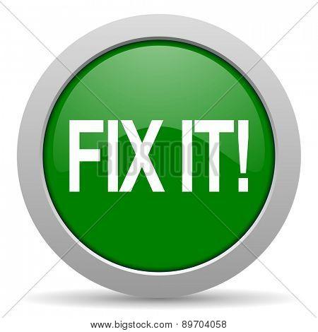 fix it green glossy web icon