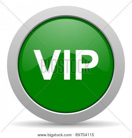 vip green glossy web icon